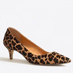 J. Crew Leopard Calf Hair Kitten Heels Size 7 1/2